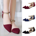 2017 Spring  Fashion Women's  Pointed Toe Ankle Strap Ballet Flats Shoes