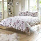 VINTAGE HEARTS FORAL DUVET COVER LUXURY 100% COTTON EASY CARE QUILT SET