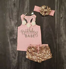 Newborn Cute Baby Girls Cotton Tops Romper Sequin Pants Outfits 3Pcs Set Clothes