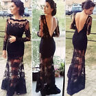 Long Lace Women Formal Wedding Bridesmaid Dress Mesh Evening Party Cocktail Gown