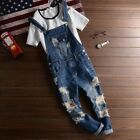 Fashion Men's Casual Slim Ripped Holes Denim Suspender Pants Overalls Trousers