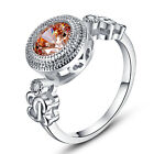 Cocktail Round Cut Morganite & White Topaz Gemstone Silver Ring Size 6 7 8 9 10