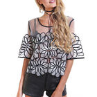 New women lady summer casual mesh embroidery loose chic tops Tee T-shirt blouse