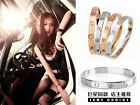 Novelty Gold-plated Stainless Steel Women's Cuff Bangle Jewelry Crystal Bracelet