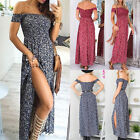 Summer Womens Casual Off Shoulder Boho Floral Split Maxi Party Club Beach Dress