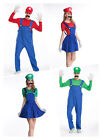New Mens & Womens Super Mario and Luigi Bros Fancy Dress Costume Outfit Cosplay