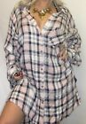 SEXY PiNK BLK THiCK CHECK BUTTON UP FALL FLANNEL WOMEN PLUS TOP SHiRT TUNiC 2X