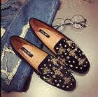 Women's Casual Rhinestones Rivets Suede Loafers Pull On Flat Round Toe Shoes2017