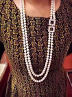 AA7-8mm double row white freshwater pearl necklace platinum plating inlay zircon
