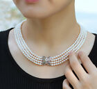 A AA4-5mm 4 rows natural pearl necklace platinum plating