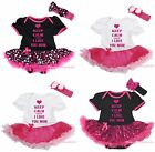 Keep Calm Cause I Love You Mom Heart Pink Cotton Bodysuit Girl Baby Dress NB-18M