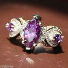 925 silver Filled Purple Amethyst Birthstone Engagement Wedding Loving Gift Ring