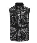 Mens Camouflage Floral Printed Stand Collar Slim Sleeveless Casual Jackest Coat