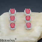 Fashion Women Prom. Cherry Ruby White Topaz 925 Sterling Silver Earrings 1 3/8""