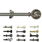Curtain Rod Decorative Telescopic Cafe Window Drapery Rods Set w Modern Finials