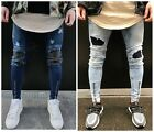 Fashion Men's Ripped Straight Biker Jeans Trousers Casual Slim Fit Classic Pants