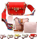 LeahWard Faux Leather Studded Cross Body Bag With Aztec multicoloured strap