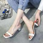 New Women Transparent Clear Heel Ankle Strap Sling Back Sandal Open Toe Shoes S
