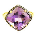 Amethyst 7.03 Ct & Chocolate Diamiond Ring In 10 Kt Yellow Gold Jewelry