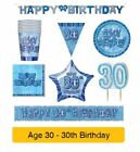 AGE 30 - Happy 30th Birthday BLUE GLITZ - Party Range, Banners & Decorations