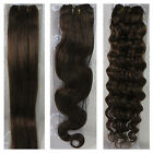 """15""""-36"""" Human Hair Extensions Weft Straight Wavy Curly #6 Medium Brown 100gr"""