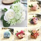 10 Head Artificial Fake Silk Rose Wedding Chic Bridal Flower Bouquet Decor art