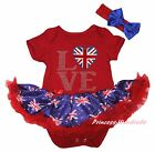 Queen Day Union Jack LOVE Heart Red Bodysuit Blue UK Flag Girl Baby Dress NB-18M