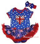 Queen Day Union Jack Heart Star Bodysuit Blue UK Flag Girl Baby Dress Set NB-18M