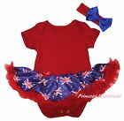Plain Queen Day Red Bodysuit Blue Union Jack UK Flag Girl Baby Dress Set NB-18M