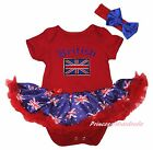 Queen Day's Union Jack British Red Bodysuit Blue UK Flag Girl Baby Dress NB-18M