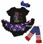 My 1ST 4th July Hat Black Bodysuit USA Flag Girls Baby Dress Leg Warmer NB-18M