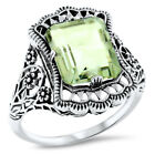 GENUINE GREEN AMETHYST 925 STERLING SILVER ANTIQUE STYLE FILIGREE RING,     #923