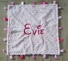 EXTRA LARGE PERSONALISED PINK PATCHWORK BABY TAGGY BLANKET COMFORT COMFORTER