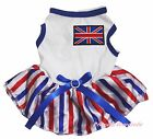 Queen Day Union Jack UK Flag White Top RWB Striped Skirt Pet Dog Puppy Cat Dress