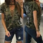 Women's Casual Camouflage Print Summer T-Shirt Lace Up Blouse Shirt Tops Blusas