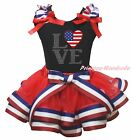 4th July USA Flag Heart Love Black Top RWB Striped Satin Trim Girls Skirt NB-8Y