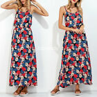 Fashion Women Ladies Spaghetti Floral Long Maxi Party Evening FLoral Dresses