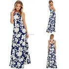 New Fashion Women Casual O-Neck Sleeveless Floral Zipper Backless Sexy Long B20E