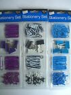 104 PIECE STATIONERY SET - Paperclips/Bulldog Clips/Push Pins - 3 Colours