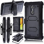 BLACK SHOCKPROOF RUGGED CASE W/STAND+HOLSTER CLIP COVER FOR ZTE ZMAX PRO Z981