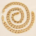 SALE 9ct 9K * Gold Filled * Men Lady 4, 8, 10, 12mm Necklace & Bracelet p908s