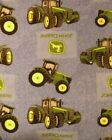 New JOHN DEERE Hand Made Fleece Blanket with a DARK BLUE Crocheted Border