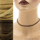 3 mm Suede Lace Necklace or Choker Custom Length pick shade Brown+ leather cord