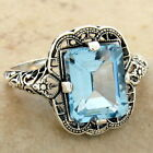 GENUINE SKY BLUE TOPAZ 925 STERLING SILVER ANTIQUE STYLE FILIGREE RING,     #962