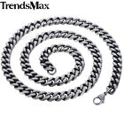 8/10/12mm Mens Chain Boys Necklace Silver Stainless Steel Cut Curb Cuban Link