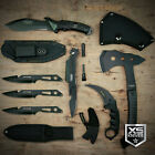 7pc EDC Tactical Set LED Pocket Knife KARAMBIT CLAW Throwing Knives TOMAHAWK AXE