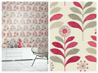 Arthouse Tamara Leaf Wallpaper - Cream / Red - Smooth Feature Wall Decor  693301