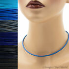 3 mm Blue Leather Cord Necklace or Choker Custom Length pick colors Handmade USA