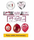 RUBY 40th Wedding ANNIVERSARY Party Banners, Balloons & Decorations