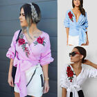 Fashion Womens Summer Embroidered Shirt Casual Blouse Loose Cotton Tops T Shirt